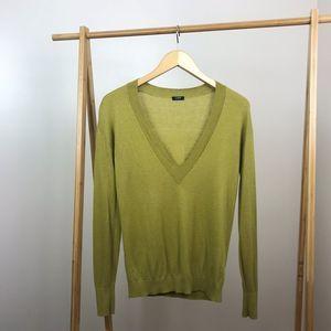 J. Crew • Green V Neck Sweater